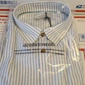 mens five four new xl dress shirt blue pin stripe